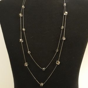 """Double Strand Opera Necklace Lucite Cube 33"""""""